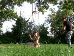 Tattooed sex slave gets punished in the park