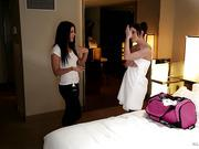 Jennifer White & Adriana Chechik - The masseuse seduces her client