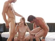 Dad and son have fun with red whore Kacy Lane