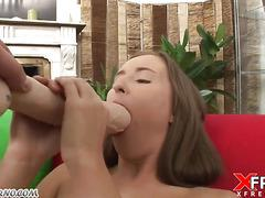 Slim slut takes a big dildo in her cunt