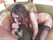 Busty slutty mom Hunter Bryce squirting and cum