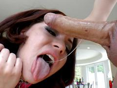 Belle Noire - POV Deepthroat to her mouth stuffed with cum