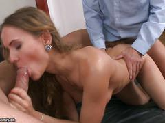 Horny assistant gets double penetration in the office