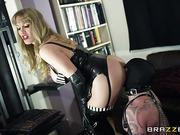 Mistress with big tits gets her ass fucked by her slave