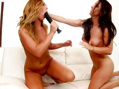 Two slutty girlfriend Carter Cruise And Serena Blair and their brutal dildo