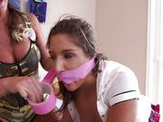 A female soldier with strap-on fucks teen girl in the ass