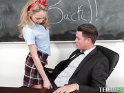 Young cute girl Angel Smalls has sex with her teacher