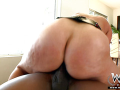 Big tit mature woman takes big ebony cock in her fat ass