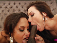 Two beautiful mature woman takes large ebony cock in their tight hole