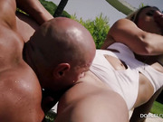 Mature lady with small tits gets double fucked