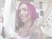 Tattooed beauty with crimson hair ready for hardcore drilled
