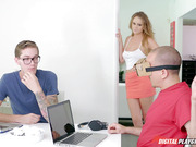 Young student in glasses fucks busty babe Alexis Adams