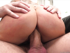 Sultry blonde with ripe melons gets her fat pussy banged hard