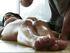 Sexy hot lady gets her oiled pussy banged by a stranger man