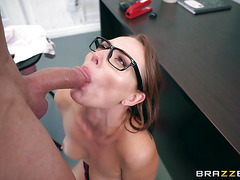 Slim college girl having sex with the dean in school classroom