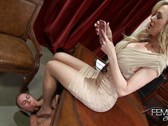 Slutty blonde with big curvy boobs and her slave for sex games