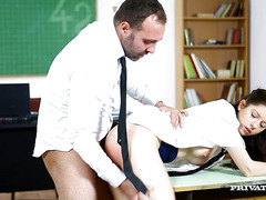 Strict educator punishes sweet minx Rebecca Volpetti on the desk