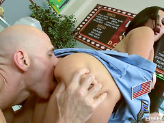 Sultry Latin exotic slut in uniform and skilful chef Johnny Shins