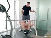 Busty sexy athlete Kendra Lust takes her trainer's fat cock
