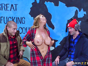 Group porn during an evening TV show with slutty Asian milf