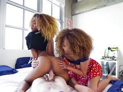 Funny black girls Cecilia and Kendall prefer to share even the guys