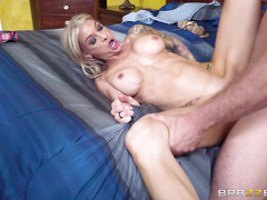 Big jugs blonde seduces her husband's young son