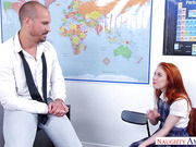 Sweet Bookworms gets her ginger pussy banged by her tutor