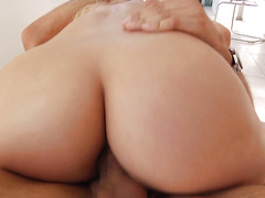 Sultry slutty blonde takes a cock into her ass for the first time
