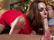 Busty MILF and her young inexperienced stepson