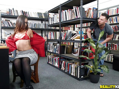 Young guy was watching as his librarian fucks her ass