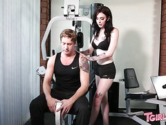 Athlete Damien Thorne and his fitness trainer Annabelle Lane
