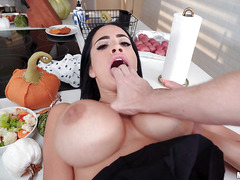 Victoria June shows her big boobs and gives a blowjob
