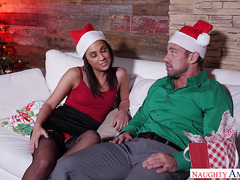 Christmas porn with busty cheater and her husband friend