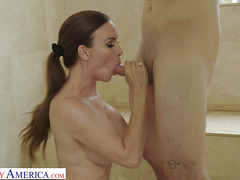 Depraved MILF Seduced Young Guy Nathan Bronson In Shower