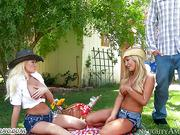 Cowboy and his two friends have passionate sex on a picnic