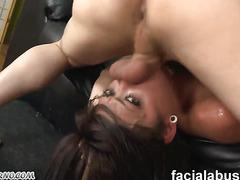Informal tattooed Emo Girl gets Cum shot on her face